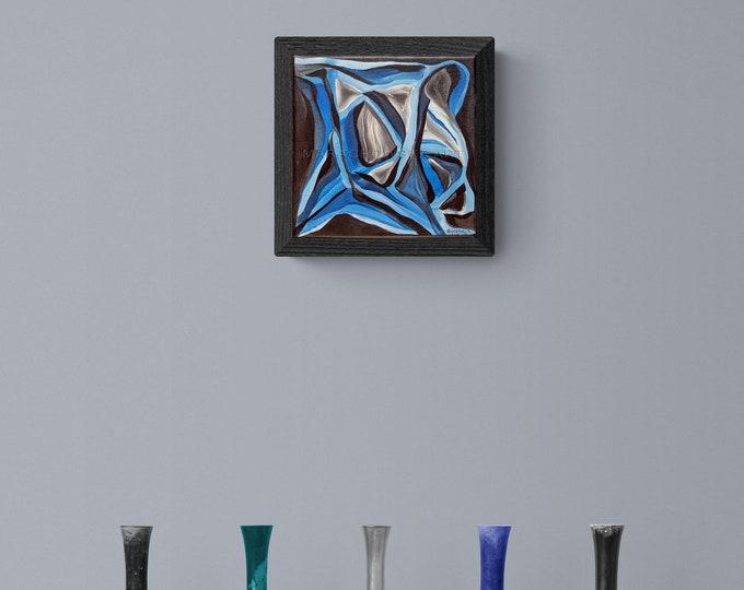 Devil Painting, Abstract Blue Painting, Original Artwork Devil, Abstract Artwork Devil, Framed Painting Devil, by Maria Marachowska