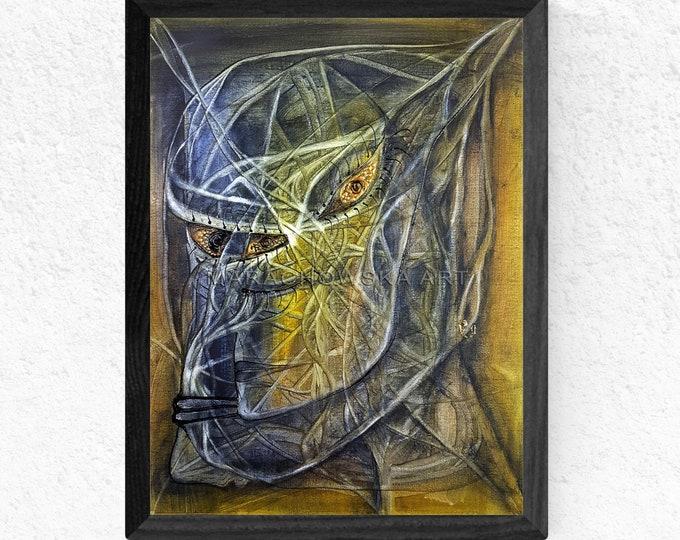 Surreal Dark Painting - Monster Art Painting - Monster Face Art - Monster Canvas Art - by Maria Marachowska