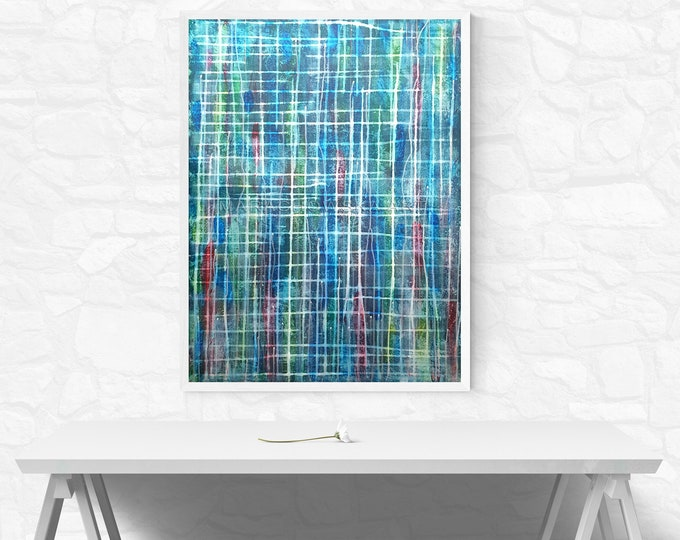 Blue Spring Canvas Painting, Abstract Lines Painting, Colorful Canvas Painting, Original Abstract Painting, Abstract Art, Maria Marachowska
