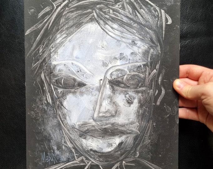 Canvas Painting Horror Portrait - Black Painting Horror Portrait - Horror Face Painting - Horror Face Black - Horror - by Maria Marachowska