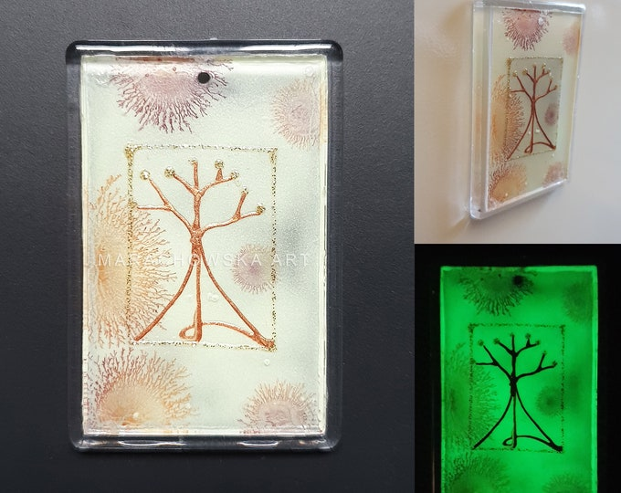 Art Tree Magnet, Handpainted Tree Magnet, Fridge Magnet Tree, Glowing Tree Magnet, Originals Magnet Tree, by Maria Marachowska