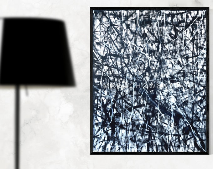 Painting Large Abstract Canvas Black White - Large Abstract Original Painting Black White - Abstract Painting - by Maria Marachowska