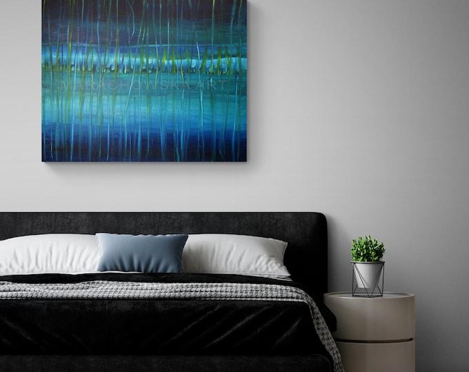 Large Blue Seascape Abstract Painting, Canvas Seascape Blue Abstract Painting, Large Wall Art Painting Seascape, by Maria Marachowska