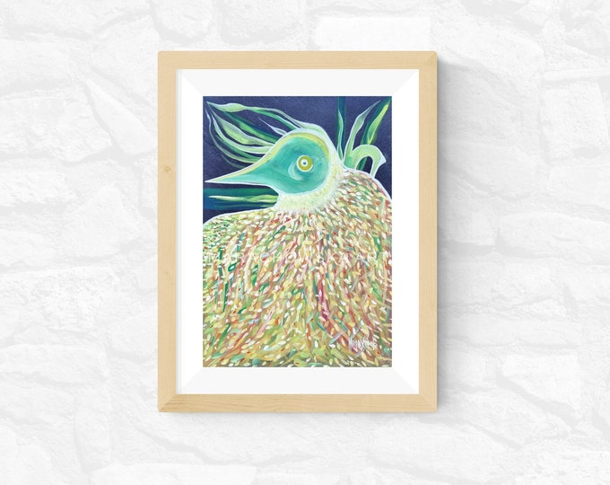 Surreal Bird Painting, Watercolor Painting Bird, Framed Bird Painting, Original Painting Bird, Bird Artwork, Bird, by Maria Marachowska