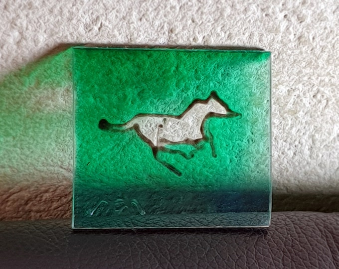 Green Painting Horse, Glass Painting Horse, Suncatcher Horse, Painting Horse, Window Painting Horse, Horse Present, by Maria Marachowska