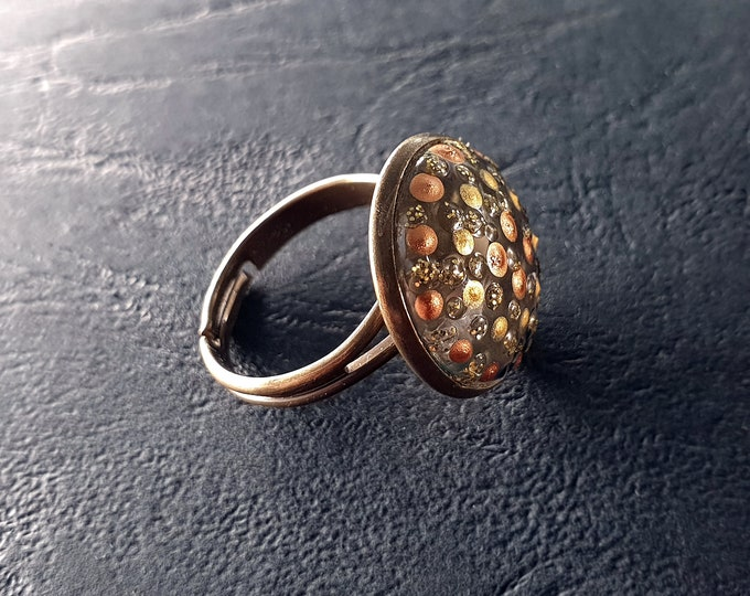 Painted Gold Ring Jewelry - Gold Ring Painting - Points Ring - Handmade Ring Painting - by Maria Marachowska