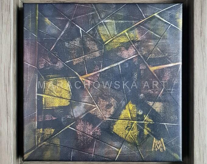 Abstract Framed Canvas Print, Oak Optic Frame, Museum Quality, Canvas, Woode, Maria Marachowska, MARACHOWSKAART