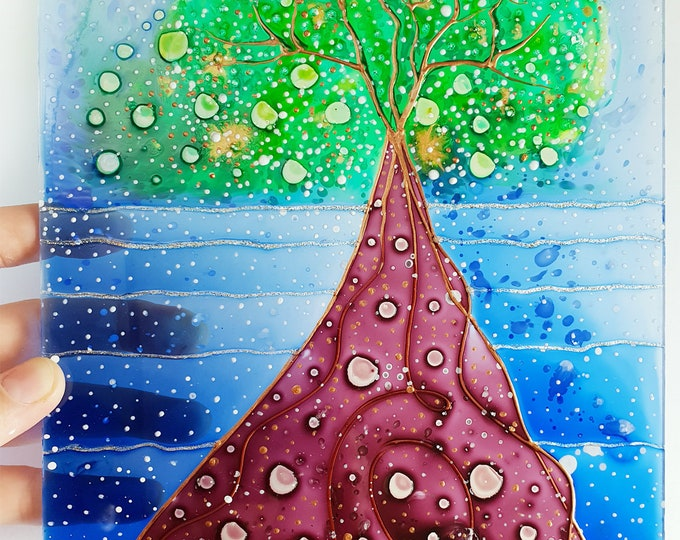 Stained Glass Water - Tree of life - Window Decoration Tree - Tree Glass Painting - Seascape Glass Art - by Maria Marachowska