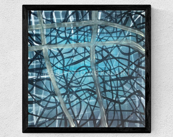 Abstract Painting Lines, Glowing Painting, Framed Original Canvas Painting, Glowing Art, Abstract Lines Art, by Maria Marachowska