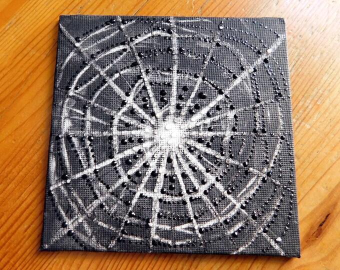 Spiderweb Art, Canvas Painting Spiderweb, Black White Painting, Canvas Artwork, Spider Painting, Dark Art, by Maria Marachowska