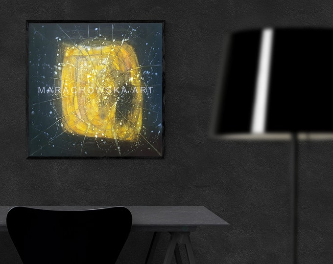 Painting Abstract Universe, Canvas Wall Art Painting, Wall Art Stars Yellow Painting, Abstract Canvas Yellow Painting, by Maria Marachowska