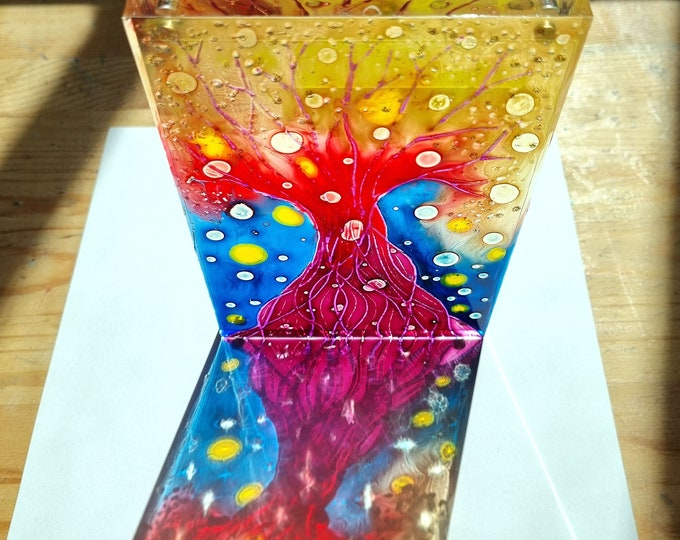 Glass Painting Red Tree, Glass Magnet Tree, Suncatcher Tree, Red Tree Painting, Glass Painting Tree, Stained Glass Tree, Maria Marachowska