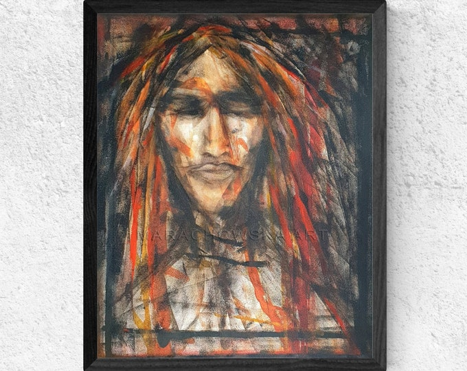 American Indian Painting, Canvas Painting Native, Original Framed Painting, Native Painting, Native, by Maria Marachowska