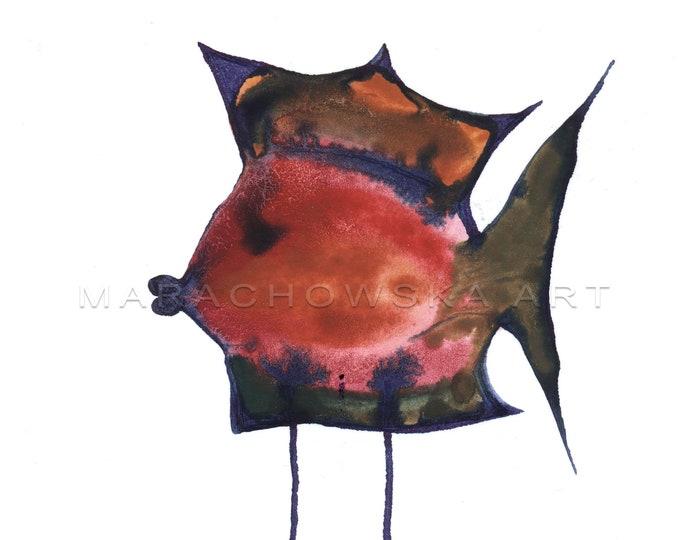 Painting Fish Framed, Framed Watercolor Painting, Surreal Fish, Original Painting Fish, Fish Painting, Fish Artwork, by Maria Marachowska