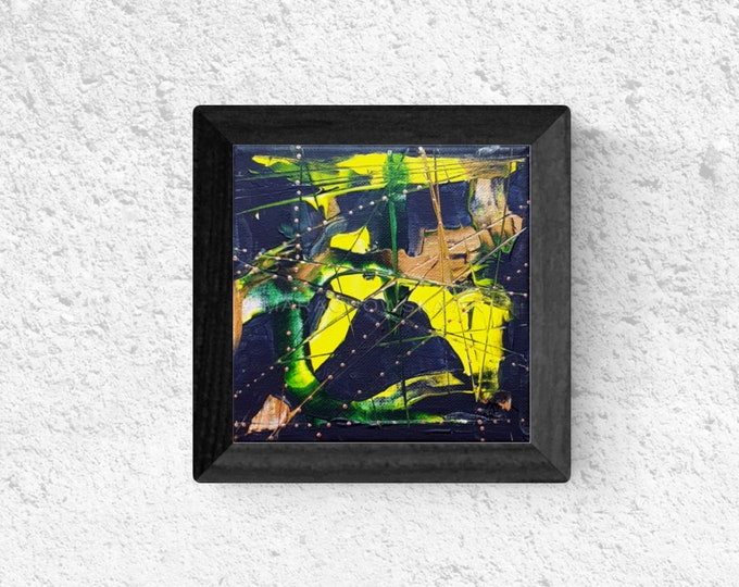Abstract Painting Green Black Gold, Framed Abstract Painting, Small Canvas Painting, Abstract Painting, Painting, by Maria Marachowska