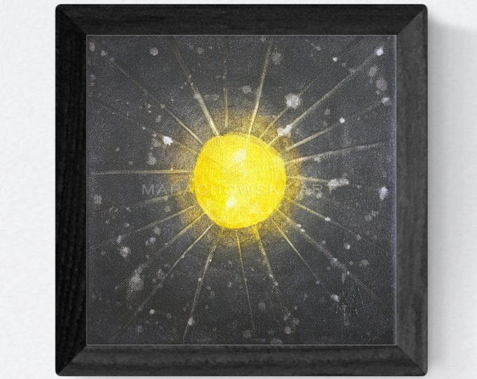 Abstract Canvas Painting Sun, Framed Painting Sun, Acrylic Canvas Painting Sun, Canvas Painting Black Yellow, by Maria Marachowska