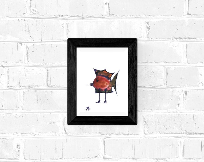 Painting Fish Framed, Framed Watercolor Painting, Surreal Fish, Original Painting Fish, Fish Painting, Fish Artwork, by Maria Marachowska