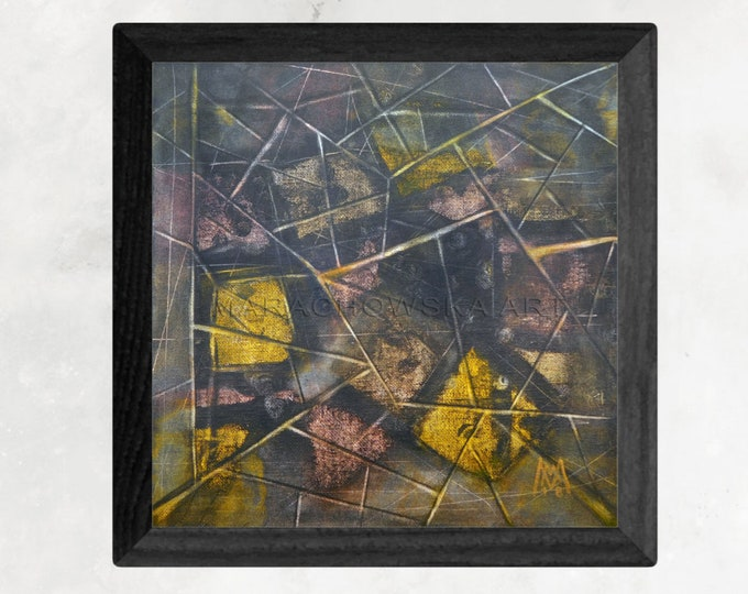 Geometry Abstract Painting - Brown Gold Abstract Painting - Geometry Canvas Painting - by Maria Marachowska