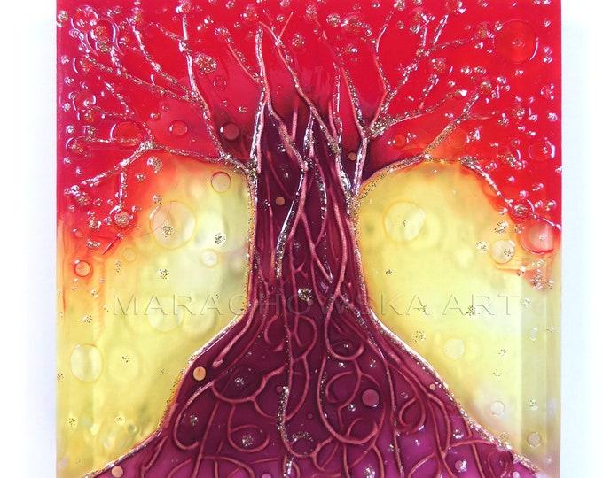 Glass Painting Tree, Sculpture Tree, Red Tree Painting, Suncatcher Tree, Sculpture Stand, Tree Of Life, by Maria Marachowska