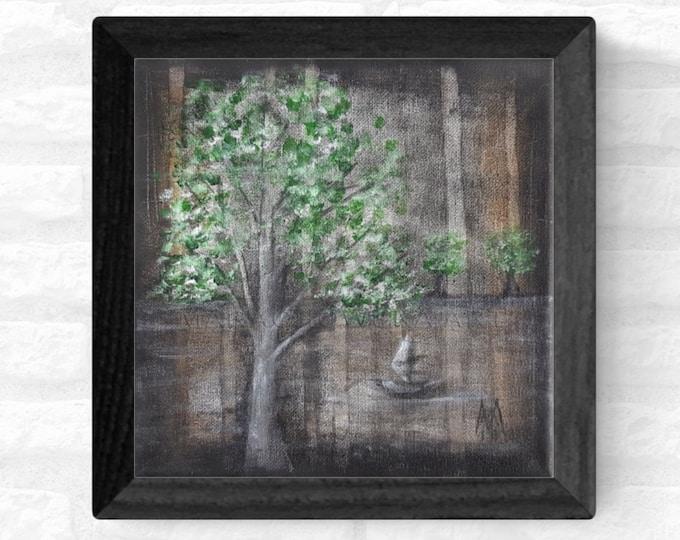 Painting Forest Trees Lake - Dark Forest Painting - Lake Forest Painting - Brown Forest Painting - by Maria Marachowska