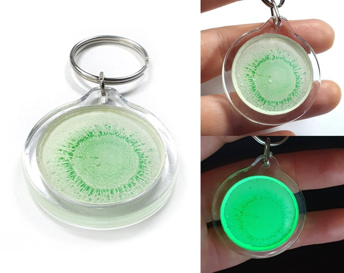 Green Keychain, Glowing Keychain, Original Keychain, Uv Keychain, Unique Keychain, Painting Keychain, Art Keychain, by Maria Marachowska