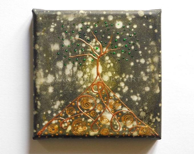 Canvas Painting Gold Tree, Gold Tree Painting, Small Tree Painting, Original Tree Painting, Tree Painting, Tree Artwork,by Maria Marachowska
