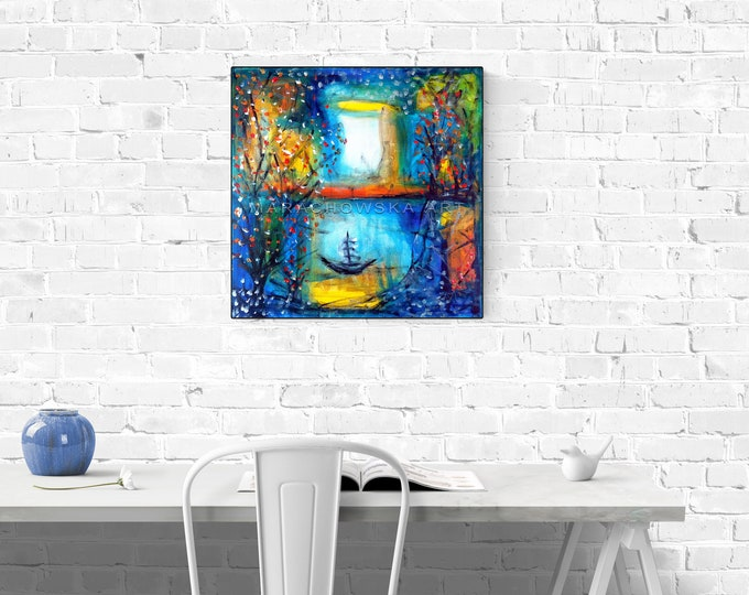 Colorful Seascape Painting, Nature Painting, Ship Painting, Water Painting, Framed Painting, Original Painting Oasis, by Maria Marachowska