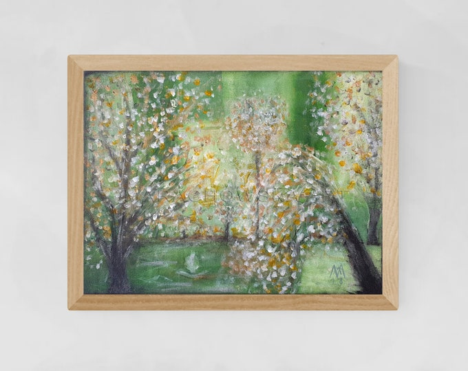 Painting Green Trees Garden - Impressionism Seascape Painting - Nature Painting Garden - Canvas Painting Garden - by Maria Marachowska