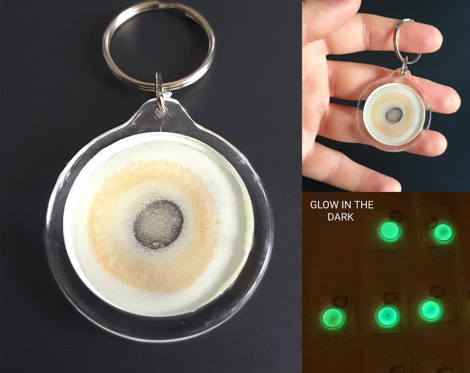Glowing Keychain, Yellow Keychain, Unique Yellow Keychain, Art Keychain, Uv Keychain, Artwork Keychain, by Maria Marachowska