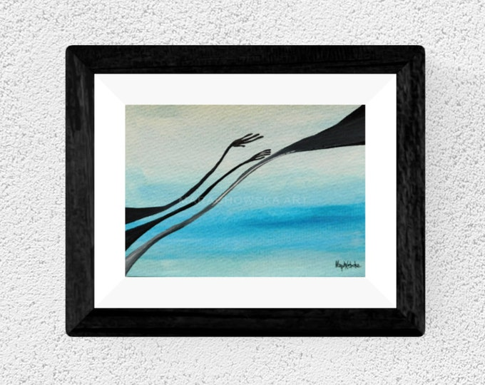 Framed Watercolor hand Painting - Watercolor Water Hand Painting - by Maria Marachowska