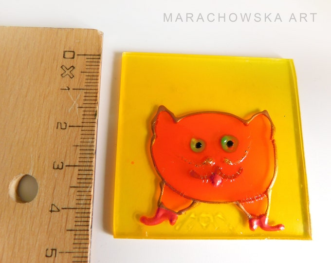 Stained Glass Cat, Glass Painting Cat, Painting Orange Cat, Window Cat, Cat Lovers Gift, Cat Lovers Painting, Cat, by Maria Marachowska