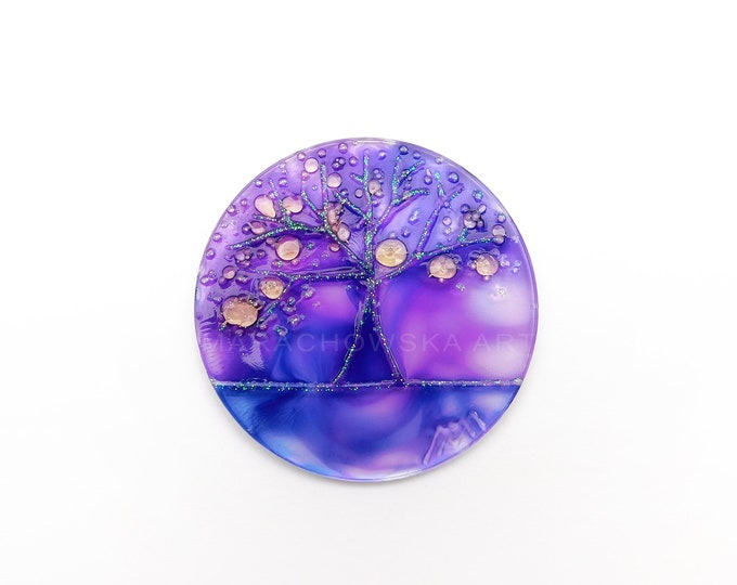 Stained Glass Circular Painting, Purple Window Decoration, Glitter Artwork, Glass Painting Tree, by Maria Marachowska