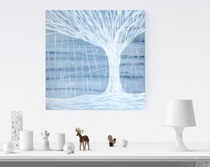 Canvas Painting Snow Tree, Framed Painting, Acrylic Painting Tree, Painting Blue White, Tree Painting, Snow Painting, by Maria Marachowska
