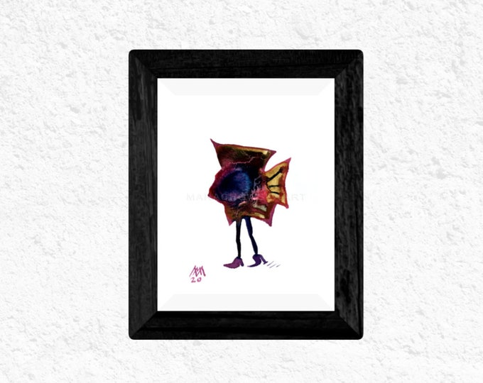 Watercolor Painting Fish Illustration - Framed Painting Fish - Small Painting Fish - Surreal Fish - by Maria Marachowska