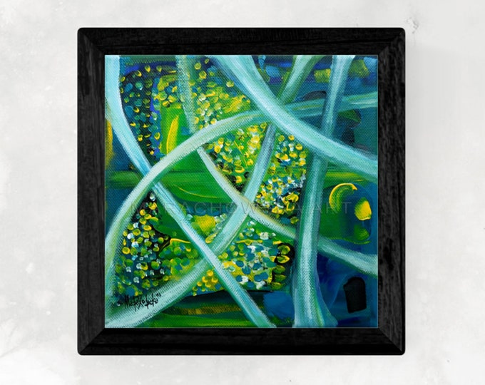 Original Canvas Painting Green Garden - Abstract Canvas Painting Garden - Acrylic Canvas Painting Garden - by Maria Marachowska