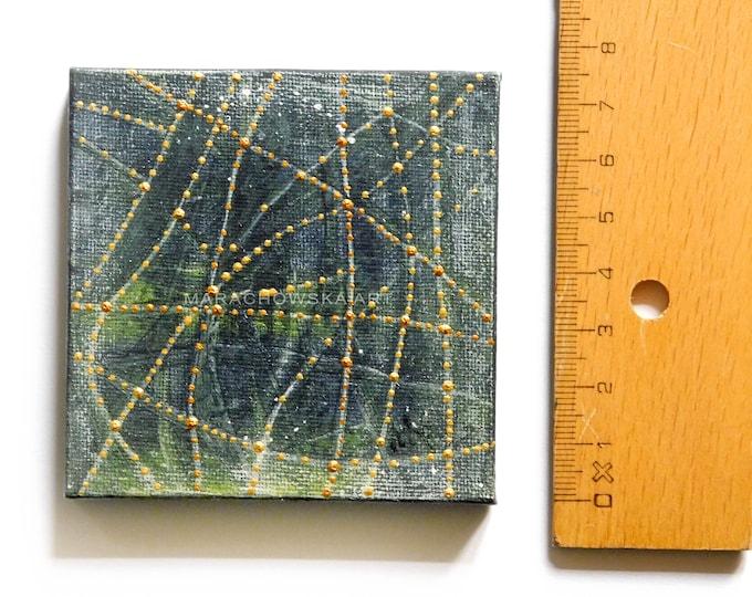 Original Textured Abstract Painting, Green Gold Canvas Lines Green Artwork Small Size painting, by Maria Marachowska, MARACHOWSKAART