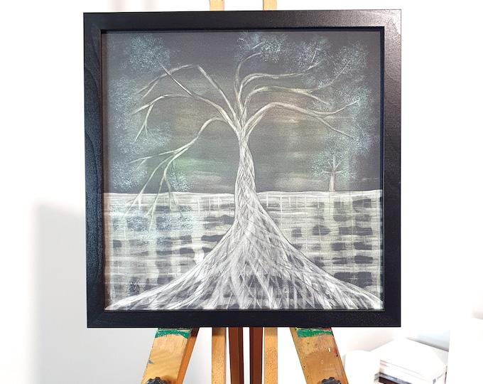 Seascape Tree Painting Original - Green Tree Canvas Painting - Tree of Life Painting - Seascape Tree Painting - by Maria Marachowska