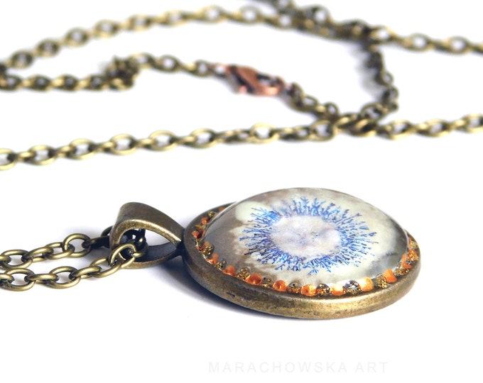 Handmade Pendant Gold Blue, Unique Jewelry Pendant Blue Art, Siberian Blues, Unique Jewelry, by Maria Marachowska