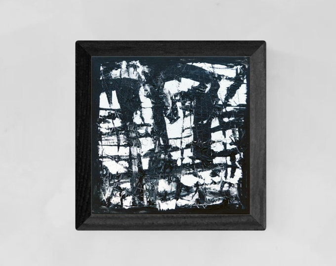Canvas Painting Black Faces - Abstract Painting Black Faces - Original Painting White Faces - by Maria Marachowska