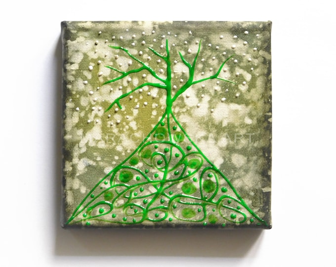 Textured Painting Green Tree, Original Painting Tree, Gree Tree Painting, Canvas Painting Tree, Tree Painting,  by Maria Marachowska