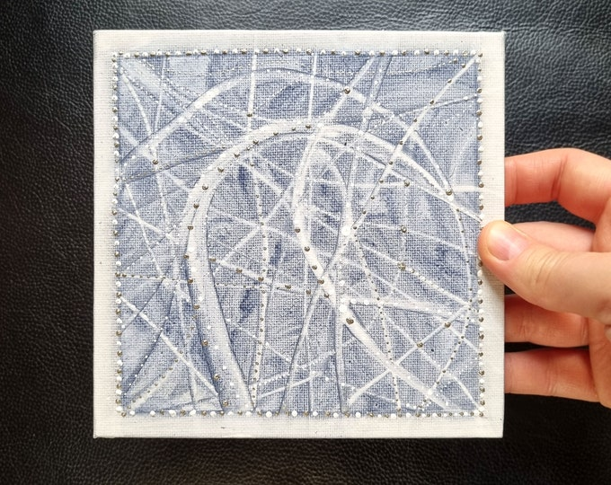 Textured Painting Abstract Silver - Original painting Abstract Silver - Painting Abstract Silver Blue - by Maria Marachowska
