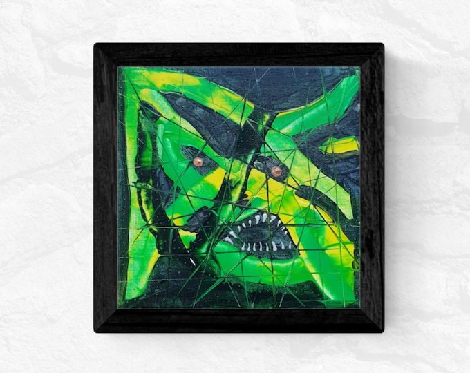 Crocodile Painting, Canvas Painting Crocodile, Horror Painting, Canvas Painting Crocodile, Framed Painting, by Maria Marachowska