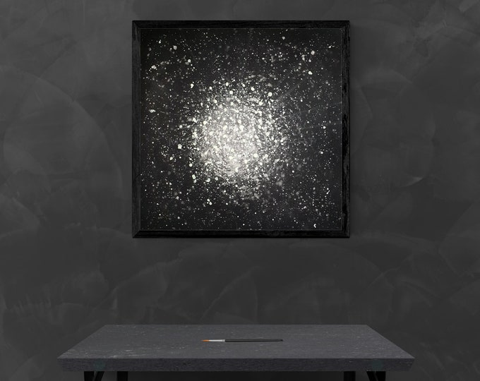 Canvas Painting Universe, Black White Universe, Black White Painting Sky, Night Stars Painting, Universe Painting,by Maria Marachowska