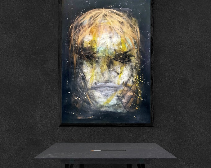 Water Color Portrait Painting, Dark Painting On Paper, Dark Painting Framed, Portrait Dark Painting, by Maria Marachowska