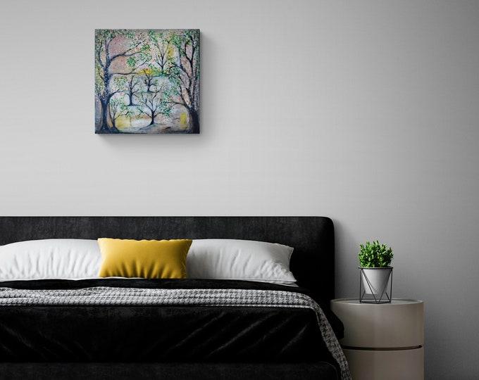 Original Canvas Painting Pink Landscape Trees, Painting Trees, Landscape Painting, Nature Painting, Trees Artwork, by Maria Marachowska