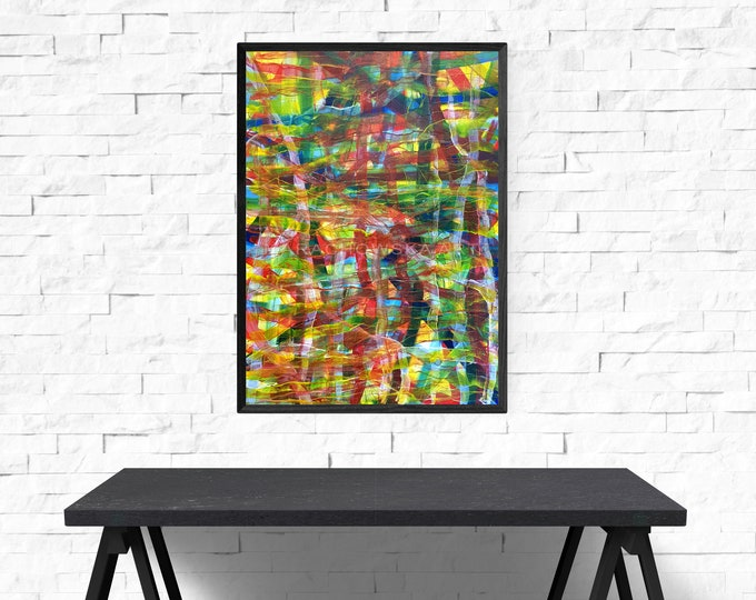 Autumn Abstract Canvas Painting, Original Painting Autumn, Abstract Colorful Painting, Framed Abstract Painting, by Maria Marachowska