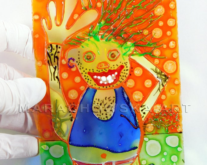 Punk Painting, Glass Painting Bear, Berlin Bear, Original Bear Painting, Suncatcher Bear, Window Artwork, by Maria Marachowska