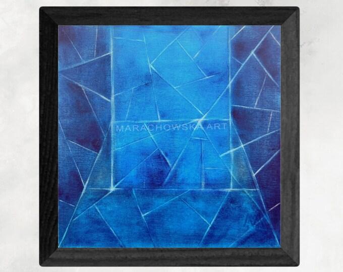 Canvas Painting Geometric Blue Fine Art - Blue Painting Original Acrylic Canvas Painting - by Maria Marachowska