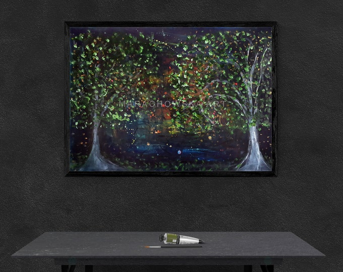 Acrylic Paper Nature Painting - Trees Garden Paper Painting - Trees Large Wall Paper Art - by Maria Marachowska