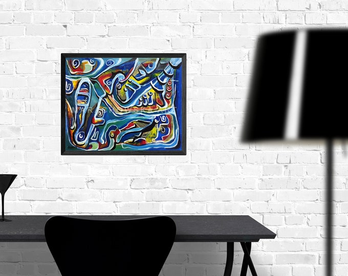 Venezia, Abstract Painting Framed, Colorful Canvas Painting, Abstract Colorful Artwork, Venezia Art, by Maria Marachowska